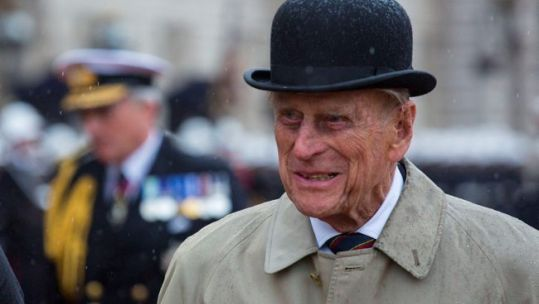 Prince Philip meeting Royal Marines cadets during his final public engagement (Picture: MOD).