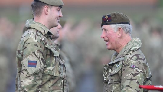 Prince of Wales presents soldiers from 1st Battalion Welsh Guards with Op Toral Medals (Picture: PA).