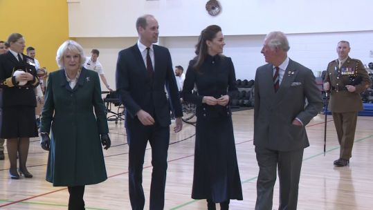 Prince of Wales, Duchess of Cornwall, Duke and Duchess of Cambridge visit Defence Medical Rehabilitation Centre.