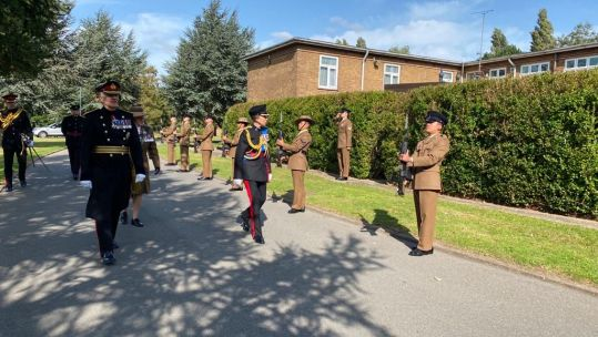Princess Anne arrives at Gamecock Barracks