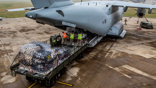RAF A400 Delivering COVID19 Vaccine Gibraltar Loading (Picture: MOD).