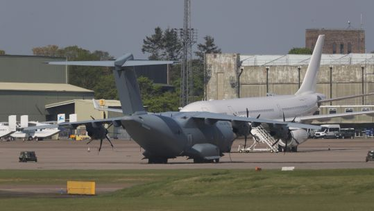 RAF A400m at Brize Norton after collecting delayed PPE kit from Turkey (Picture: PA).