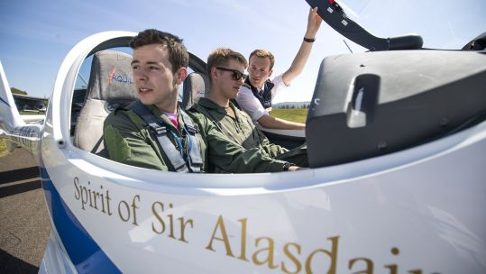 RAF Cadets inside one of the newly named planes (Picture: PA).