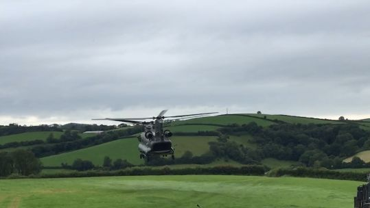 RAF Chinook stranded in Welsh field departs (Picture: Pam Windsor).