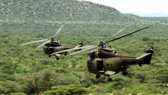 RAF Puma helicopters in Kenya on Exercise Askari Storm
