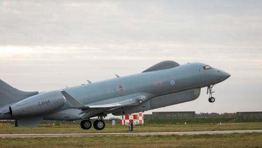RAF Sentinel taking off, with the aircraft set to retire following its last operation