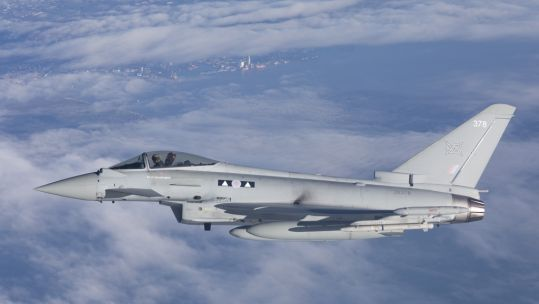 RAF Typhoon from Lossiemouth flying over Eastern Europe 081220 CREDIT MOD