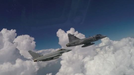 RAF Typhoons and Hungarian Gripen jets train together