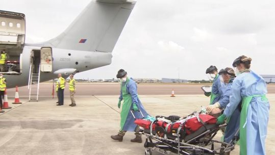 RAF medics at RAF Brize Norton demonstrate how aircraft are being used for COVID19 patients transport 160620 CREDIT BFBS.jpg