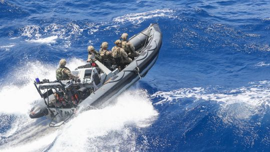 RFA Argus personnel on fast boat during drugs bust in Caribbean 031020 CREDIT Royal Navy.jpg