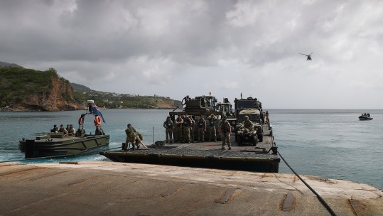RFA Mounts Bay in disaster relief exercise at Montserrat