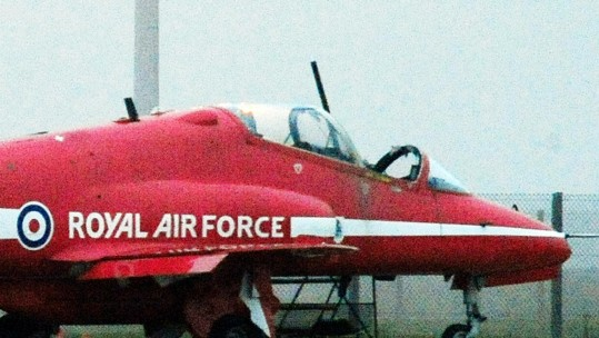 Red Arrows Hawk jet at RAF Scampton on November 2011