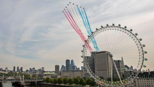 Cover image: The Red Arrows fly over the London Eye for the 75th anniversary of VE Day in May (Picture: Red Arrows).