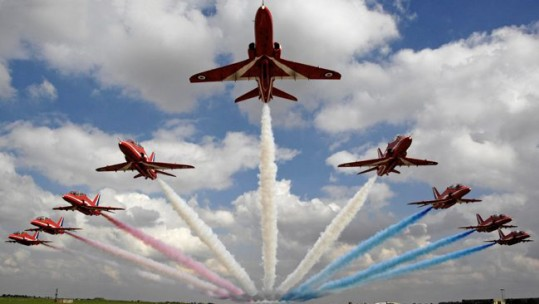 Red Arrows over RAF Scampton