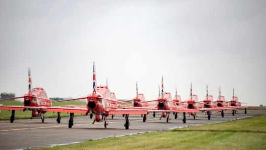 Cover image: Red Arrows taxiing at RAF Scampton in Lincolnshire ahead of Exercise Western Hawk in August last year (Picture: MOD).