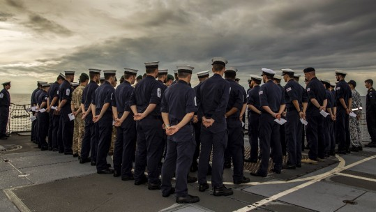 Remembrance service on HMS Argyll (Picture: MOD).