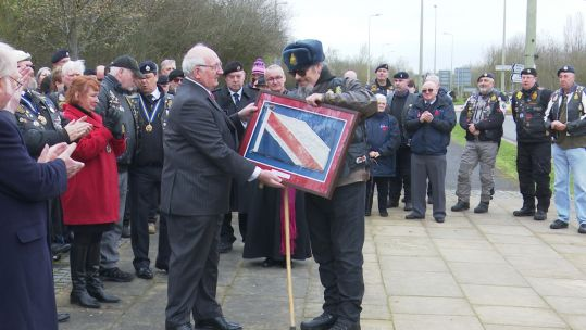 Repatriation Flag Gifted To RBL Riders Branch Credit BFBS 180319