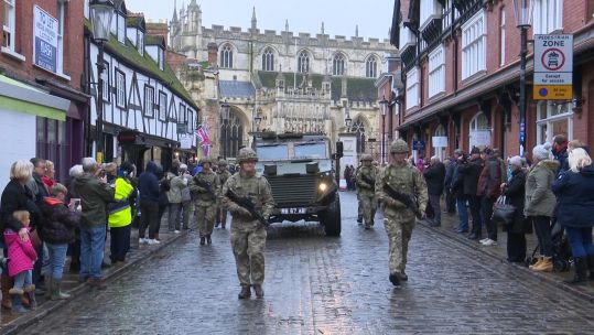 Rifles homecoming through Gloucester Credit BFBS 23.11.19
