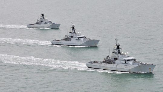 River Class patrol vessels of the Fishery Protection Squadron, HMS Severn, HMS Tyne and HMS Mersey pictured off the coast of Cornwall 160212 CREDIT MOD