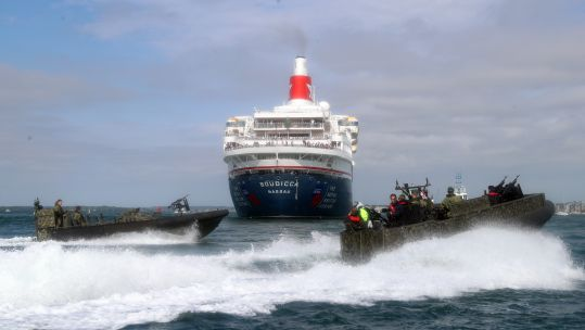 Royal Marines give demonstration to veterans on MV Boudicca