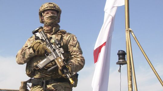 Royal Marines maritime sniper during Littoral Response Group Experimentation exercise in Cyprus