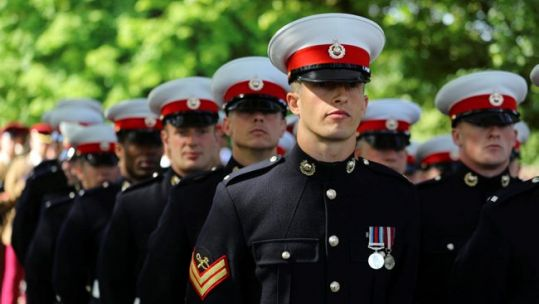 Royal Marines parade on Salisbury Armed Forces Day