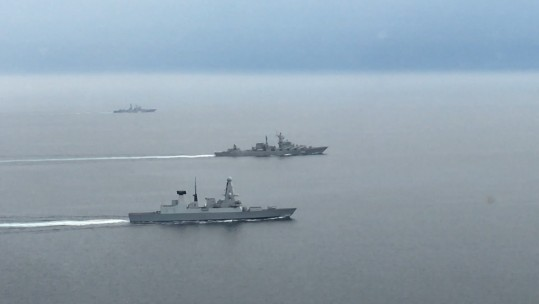 HMS Diamond monitors two Russian warships (Picture: Royal Navy).