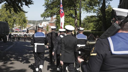 Royal Navy personnel marching semi-anonymous
