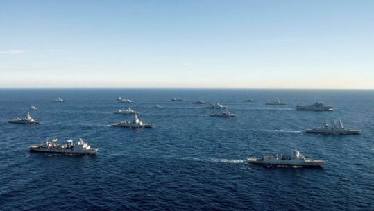 Royal Navy vessels during NATO Exercise Brilliant Mariner 2017