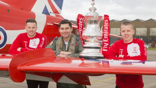 RAF Red Arrows Get A Visit From Lincoln's FA Cup Heroes