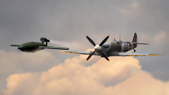 Did Spitfires ram V1 bombs out of the sky in WW2? 2019 Elaine Holtom graphic BFBS