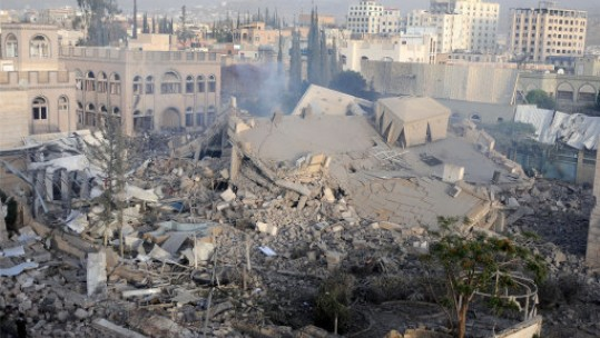 Sanaa Yemen Ruins After Airstrikes by Saudi-led coalition forces