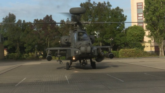 An Apache helicopter lands in Southall to commemorate the Battle of Saragarhi (Image: BFBS)