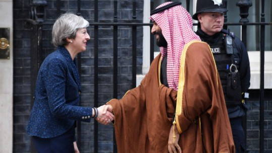 Saudi Arabia's crown prince Mohammad bin Salman is greeted by Prime Minister Theresa May at 10 Downing Street in March 2018 Picture PA