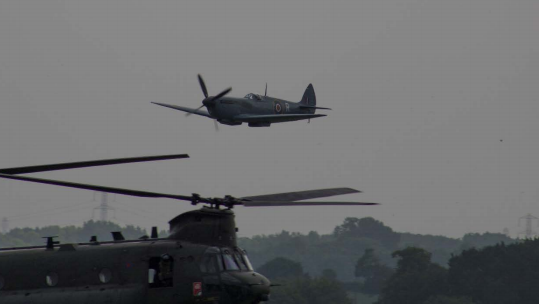 Screenshot Chinook Spitfire near collision at RAF Cosford 201118 CREDIT Airprox