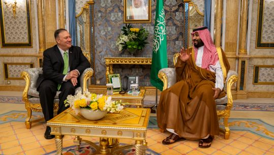 US Secretary of State Mike Pompeo made the comments while in Saudi Arabia meeting the Crown Prince, Mohammed bin Salman (Picture: US State Department).