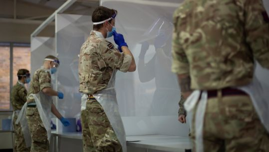 Cover image: Personnel deployed on coronavirus duties in Medway, last month (Picture: MOD).