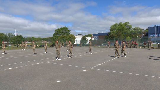 Socially distanced outdoor exercise session HMS Raleigh