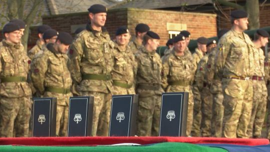 Soldiers awarded operational medals at Catterick Garrison.