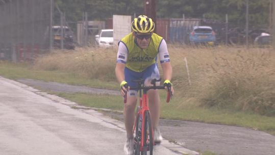Staff Sergeant Dave Jarvis cycles 100km a day for charity challenge.