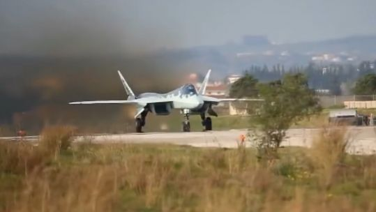 An SU-57 jet similar to then one involved in the crash (Picture: Russian MOD).