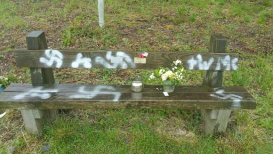 Swastikas sprayed on D-Day veterans' bench at Twyford Woods Credit Lincolnshire Police 100619