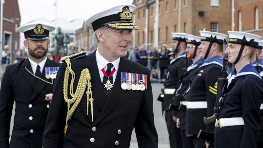 The First Sea Lord Admiral Radakin inspecting the Ceremonial Guard (Picture: Royal Navy).