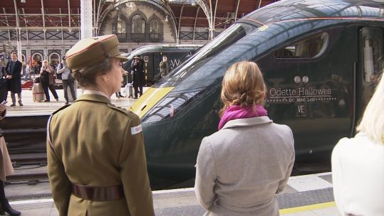 The Princess Royal at Paddington Station to honour Odette Hallowes.