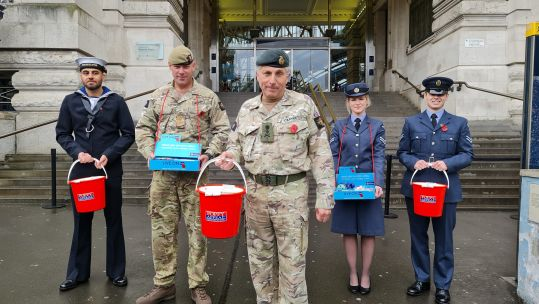The Royal British Legion's London Poppy Day Under coronavirus restrictions personnel Waterloo Chief of Defence Staff, General Sir Nick Carter 29102020 CREDIT BFBS