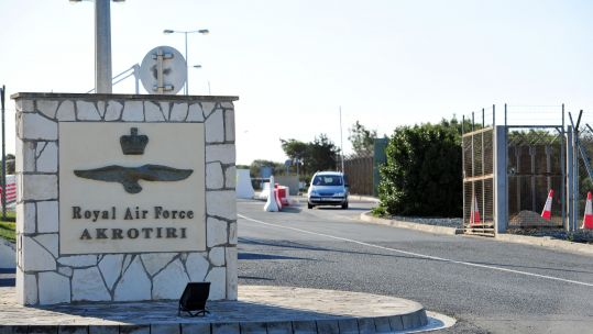 The entrance to RAF Akrotiri in Cyprus (Picture: PA).
