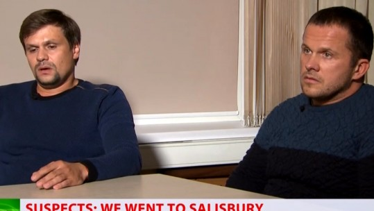 The men claiming to be the Salisbury suspects speaking to RT (Picture: RT).