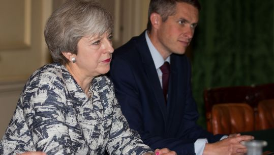 Theresa May with Gavin Williamson