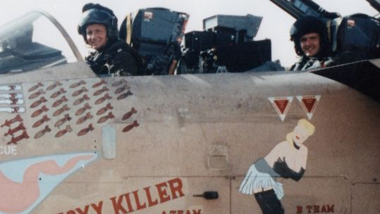 Tornado Navigators Martin Wintermeyer and Mal Craghill pictured in their aircraft during the Gulf War DATE UNKNOWN used on 150121 CREDIT Mal Craghill.jpg