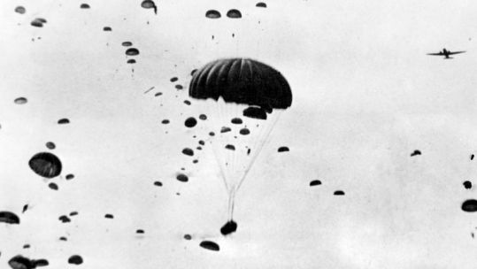 Troops parachute from the sky in Operation Market Garden